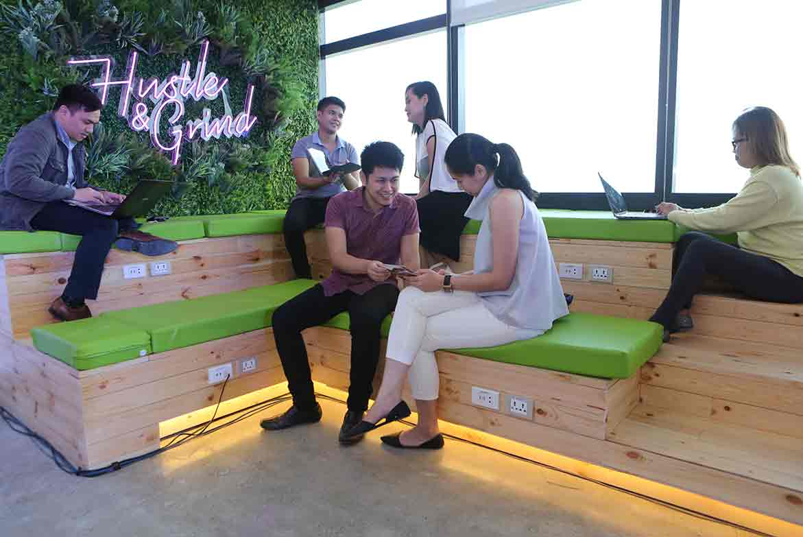 KMC Green Seating Area in Cyber Sigma, Taguig
