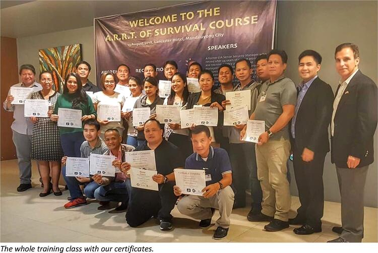 The a.r.r.t. of survival course issuance of certificates to the participants